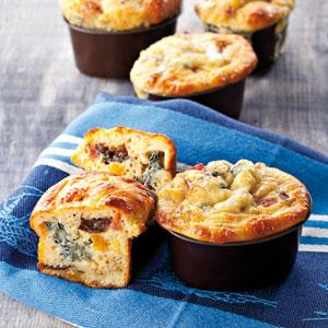 Mini muffins au Bleu d'Auvergne, chorizo et fruits moelleux