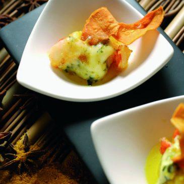 Curry de gambas à la Fourme d'Ambert