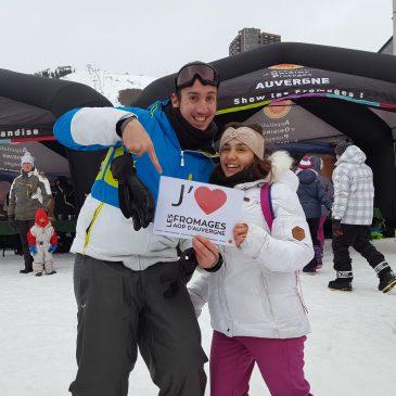 Les Fromages AOP d'Auvergne : Cantal, Saint-Nectaire, Fourme d'Ambert et Bleu d'Auvergne font leur show sur les pistes de ski