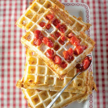 Gaufre au Cantal et fraises