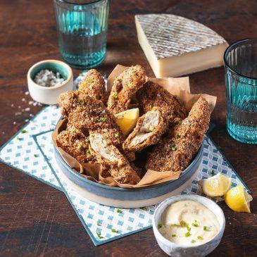 Aiguillettes de poulet panées sauce Saint-Nectaire fermier